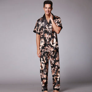 SSH021 Autumn Summer Loungewear Short Sleeves Long Pants Pajama Set Men Printed Satin Silk Pyjamas Male Pajamas Pijama Sleepwear-ivroe