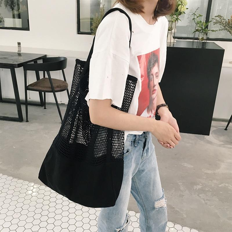 Beach Bag Canvas Bags Shoulder Large Capacity Shopping Bags Breathable Hand-held Mesh Hollow Beach Cotton Mesh Bag Shopper-ivroe