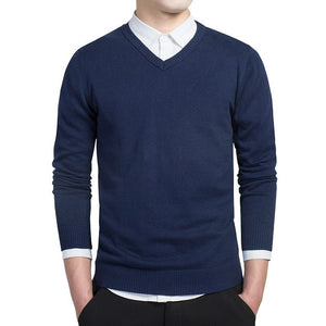 New men Sweater V-Neck Knit Warm Solid Pullover Male solid long sleeve blue Sweaters masculino Pull homme Plus size M-3XL M6620-ivroe
