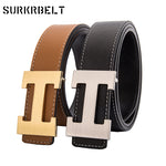 Men Belt 2018 Cowhide Genuine Leather Belts for Men Fashion Smooth Buckle Belts With Letter H Belts Cinturones Hombre-ivroe