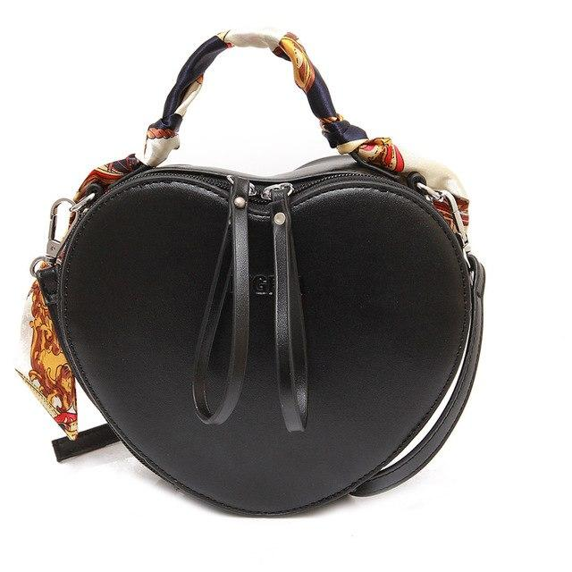 New cartoon red heart shape women crossbody messenger bag scarves decoration lady black lovely peach handbag shoulder bags-ivroe