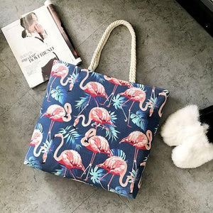Perilla Flamingo Printed Casual Bag Women Canvas Beach Bags High Quality Female Single Shoulder Handbags Ladies Tote Hot Sale-ivroe