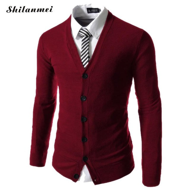 2018 New Autumn Winter Men's Knitted Cardigan Masculino Sweater Long Sleeve V Neck Black Sweater Business Men Slim Fit Knitwear-ivroe