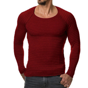 JCCHENFS 2018 New Brand Men Knitted Sweater Autumn Winter Fashion Men's Striped Sweaters Solid Color Slim Fit Men Pullovers-ivroe