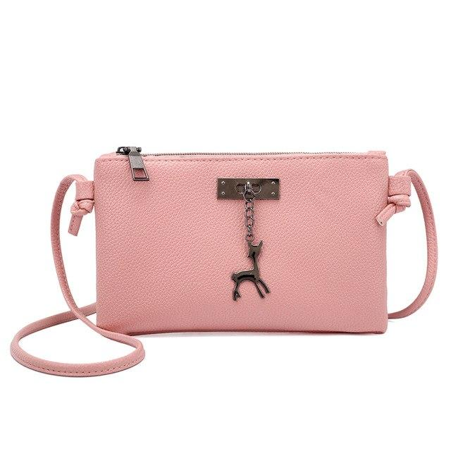2018 Vintage Nubuck Leather Women Bags Fashion Small Shell Bag With Deer Toy Women Shoulder Bag Winter Casual Crossbody Bag-ivroe