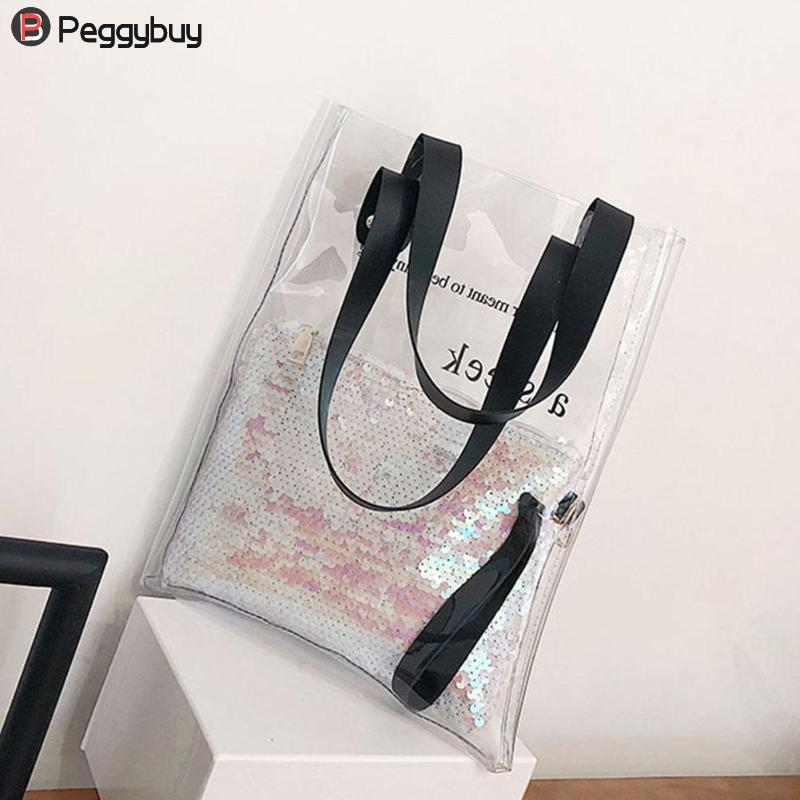 Women Clear PVC Tote Plastic Beach Handbags Female Casual Transparent Summer Shopping Shoulder Bags Girls Composite Bag 2018-ivroe