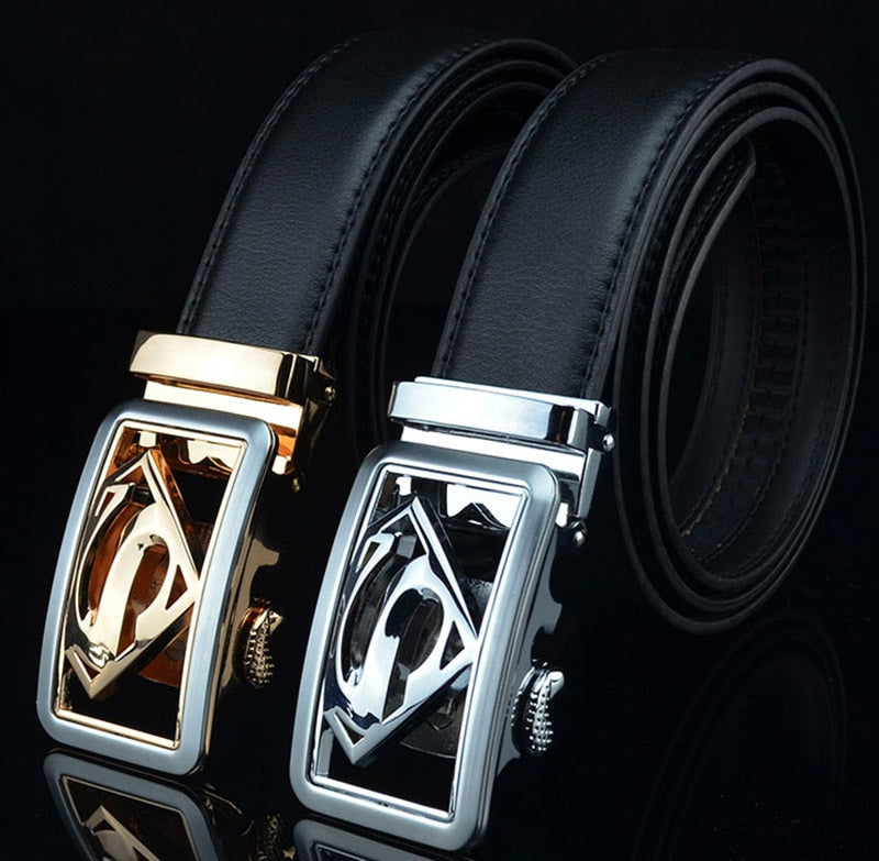 Fashion brand genuine belt cow Mens Belt Superman Automatic mens Buckle formal Belt Business Leather Belt black gold-ivroe