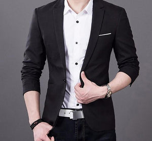 Fashion Men Slim Fit Formal One Button Suit Business Blazer Coat Jacket Tops-ivroe