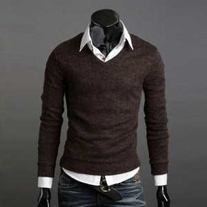 2018 Sweater Men Christmas Jumper Casual Knitted V Neck Pullover Sweaters Pull Homme 2096375-ivroe