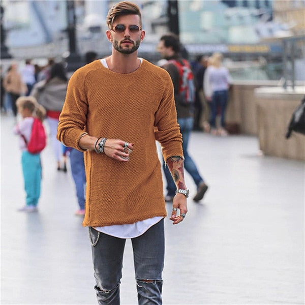 2018 brand social Men Sweater Autumn Winter Knitted Loose Jumper Male blue thin men's pullover sweaters casual masculino jersey-ivroe