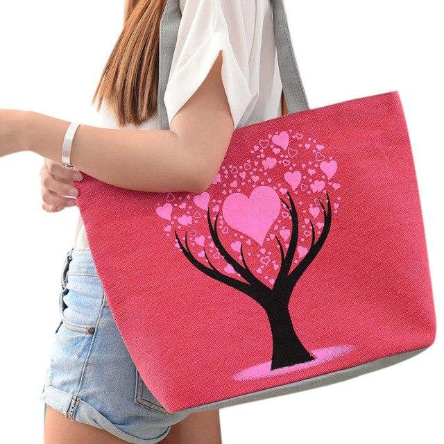 Aelicy New Fashion Beach Bags Women Summer 2018 Canvas Bag Printed Flowers Zipper High Quality Shoulder Bags for Woman 2018-ivroe