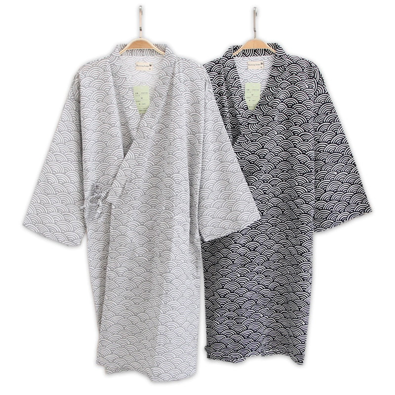 Male Simple Japanese kimono robes men summer long sleeved 100% cotton bathrobe fashion casual waves dressing gown men bathrobe-ivroe