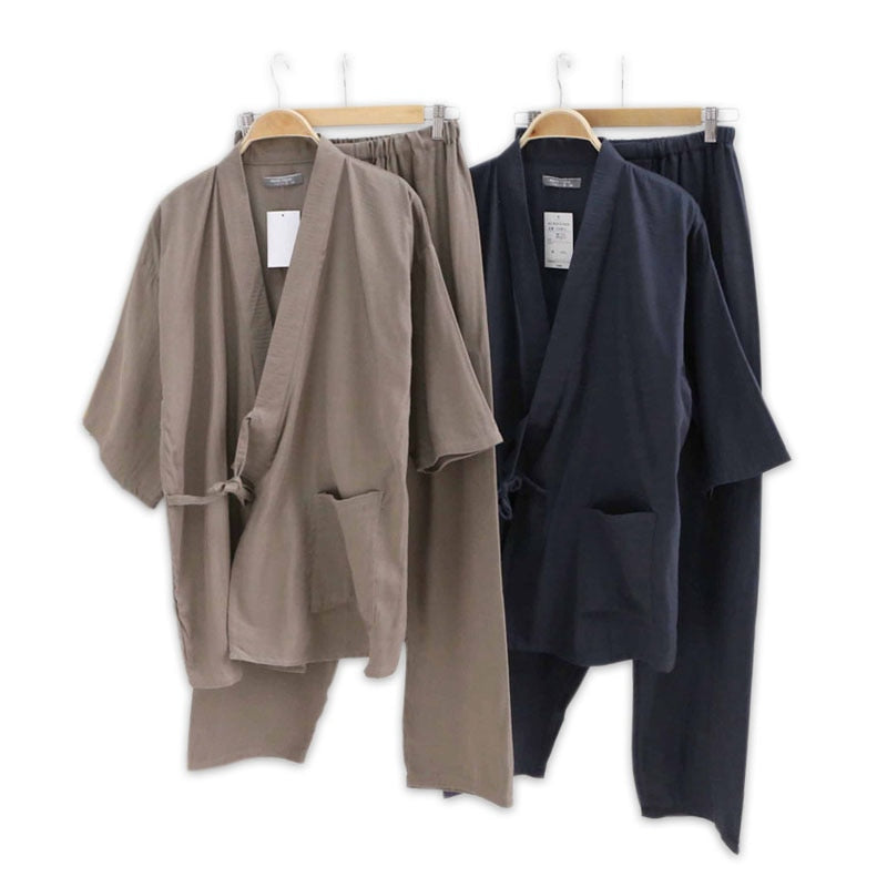 Hot sale 100% gauze cotton kimono pajamas mens simple short sleeve japanese Robe sets for male pijama hombre pyjamas Robes-ivroe