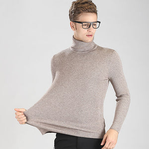 High-grade New 2018 Autumn Winter Youth Fashion Turtleneck Sweater Men Knitted Sweater High Elastic Mens Sweaters And Pullovers-ivroe