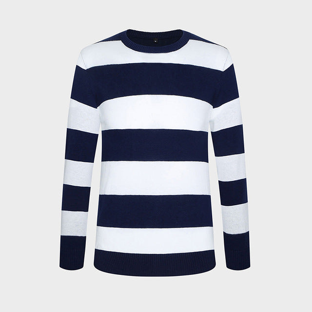 Autumn Winter Fashion Brand Clothing Men Knitted Sweater Thick Stripes Slim Fit Pullover Men 100% Cotton O-Neck Sweaters For Men-ivroe