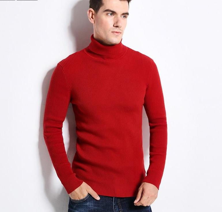 New Thick Warm Autumn Winter Sweater Mens Turtleneck Fashion Solid Color Slim Fit Winter Pullover Men Trend Knitted Sweater Men-ivroe