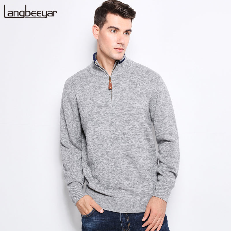 Top Grade New Autumn Winter Fashion Men Knitted Sweater Stand Collar With Zipper Slim Fit Pullover Men 100% Sweaters For Men-ivroe