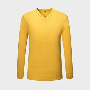 New Autumn Winter Fashion Brand Clothing Men's Sweaters V-Neck Solid Color Slim Fit Men Pullover 100% Cotton Knitted Sweater Men-ivroe