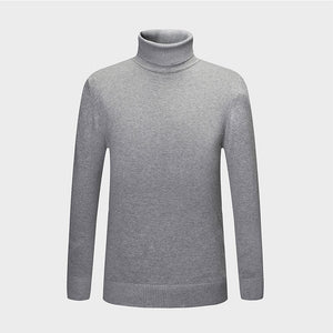 New Autumn Winter Fashion Brand Clothing Men's Sweaters Warm Slim Fit Turtleneck Men Pullover 100% Cotton Knitted Sweater Men-ivroe