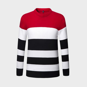 New Autumn Winter Brand Clothing Sweater Men Fashion Trend Stripe Slim Fit Winter Pullover Men 100% Cotton Knitted Sweater Men-ivroe