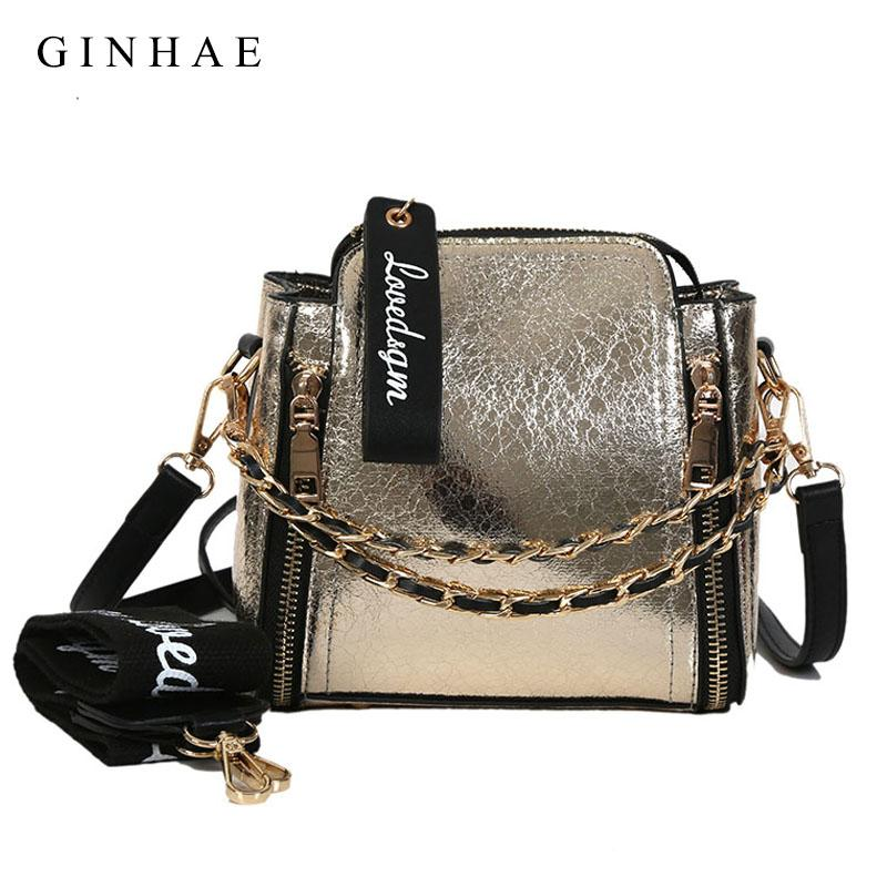 Bright Women Bags Small Chain Shoulder Bag Ladies Pu Leather Handbags Casual Zipper Crossbody Bags Wide Strap Sac 2018 Summer-ivroe