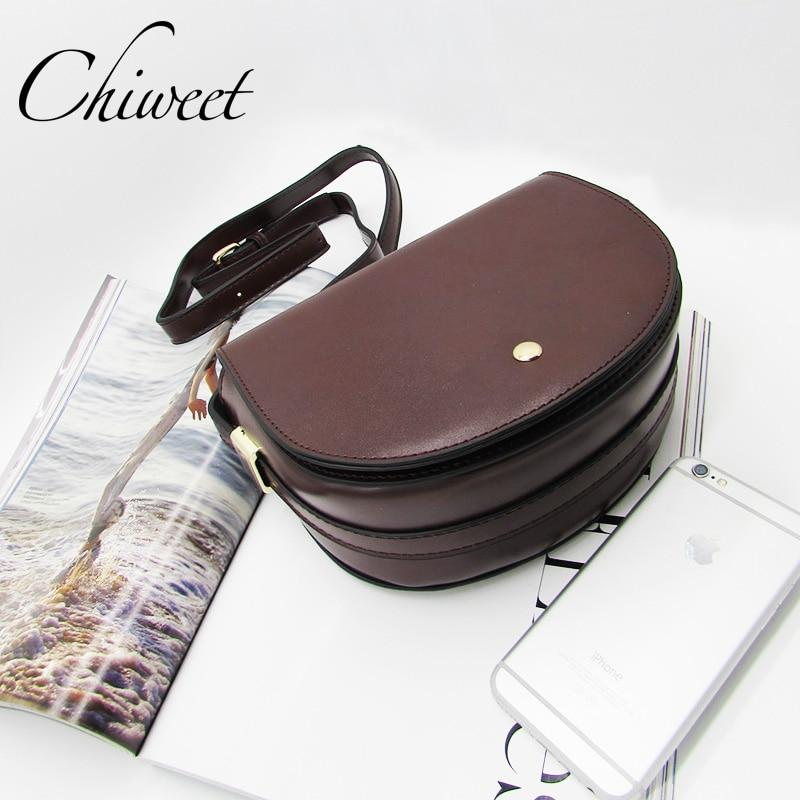 Fashion 2018 Brand Solid Saddle Crossbody Bag Women PU Leather Handbag Luxury Semicircle Shoulder Bag Casual Messenger Bags Sac-ivroe