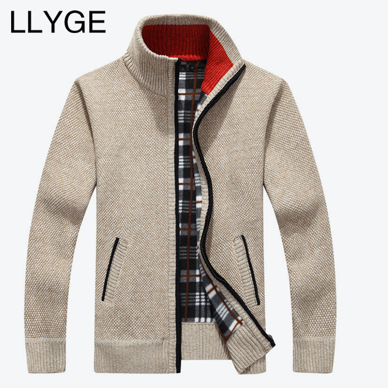 2018 Autumn Winter Men Warm Cardigan Sweatercoat Casual Loose Stand Neck Wool Sweaters Coat Man Zipper Thick Knittwear Plus Size-ivroe