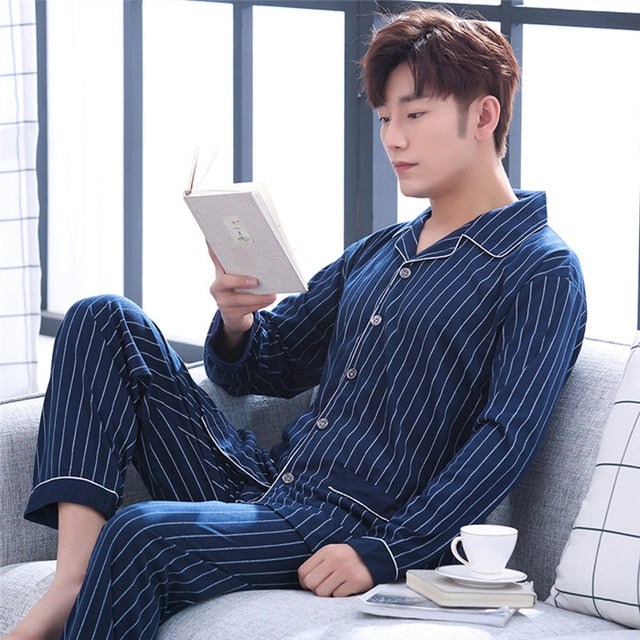 Yuzhenli Men's Pajamas Autumn Long Sleeve 100% Cotton Pyjamas Sleepwear Male Stripe Lounge Pajama Sets Plus size Nightwear 3XL-ivroe