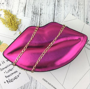Sexy Lips Style Fashion Pu Ladies Day Clutch Bag Chain Purse Shoulder Bag Handbag Women's Crossbody Mini Messenger Bag Flap-ivroe