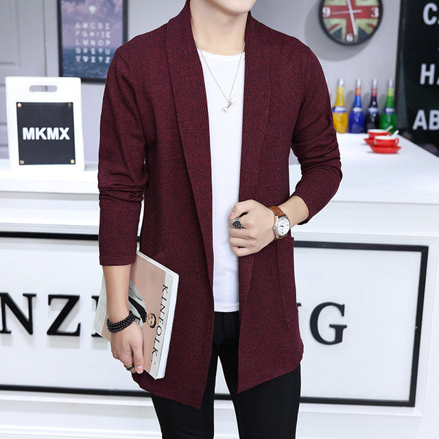 New fashion casual Men's long sweater Trench male sweater coat knit cardigan jacket tide slim sweater warm plus size 5xl-ivroe