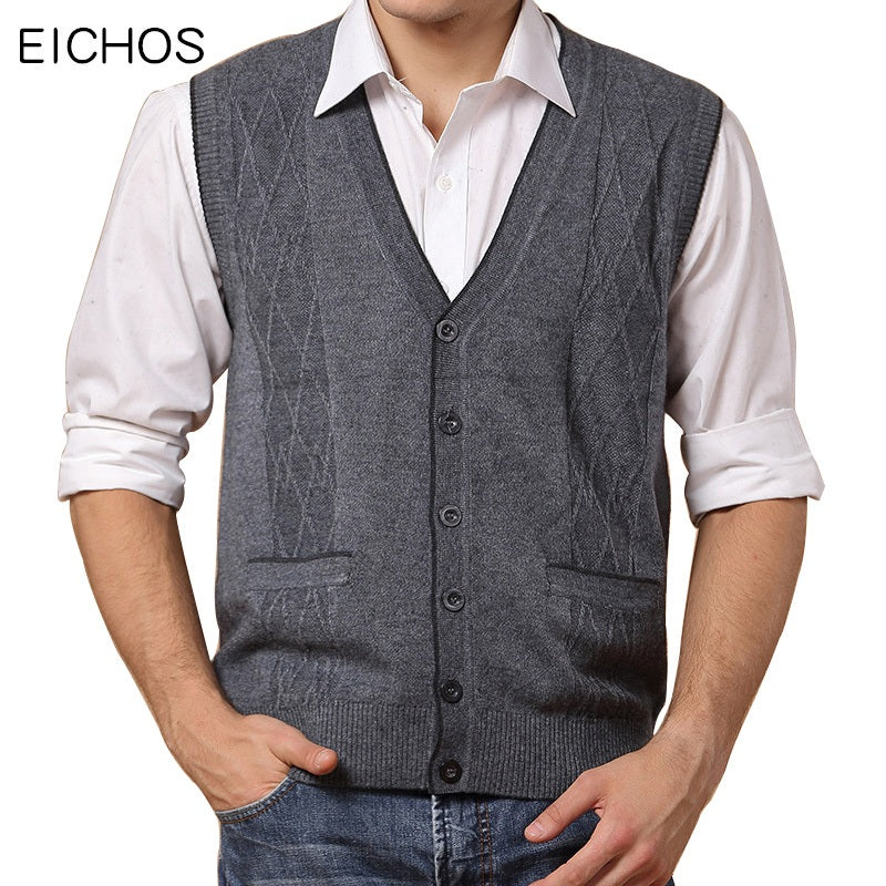EICHOS Wool Vest Men 2017 Autumn Winter Solid Business Mens Cashmere Knitted Vest V-neck Cardigan Men Brand Clothing 0903MY-ivroe