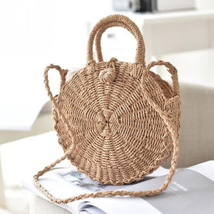 Straw Handbag Handmade Rattan Braided Round Lady's Summer Mesh Beach Shoulder Bag Woman Messenger Bag Tote-ivroe