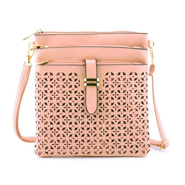 Women Messenger Bags Soft PU Leather Hollow Out Crossbody Bag For Women Clutches Bolsas Femininas Bolsa-ivroe