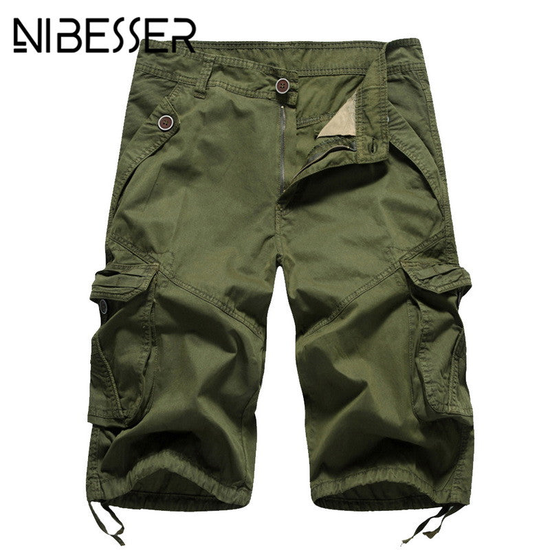 NIBESSER Summer brand Short Men Casual Big Pockets Baggy Shorts bottoms Military Straight Male Solid Shorts sportsmen size 32-40-ivroe
