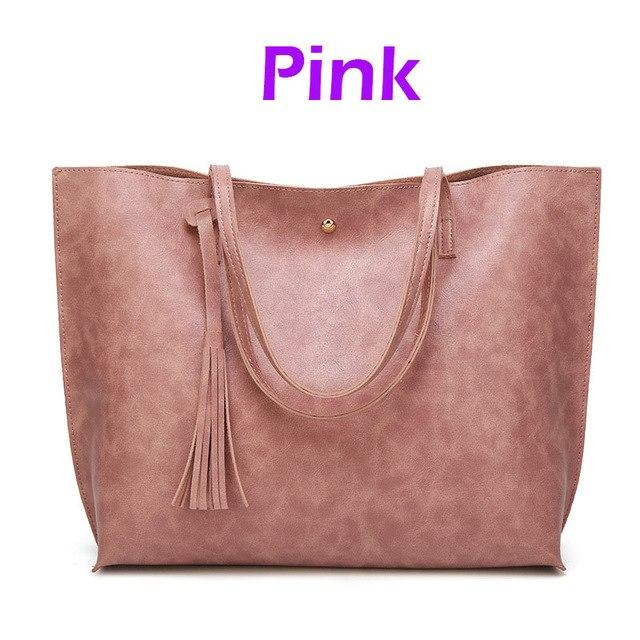 Casual Women Shoulder Bags Large Capacity New Vintage Women Handbag Tassel Soft Leather Handbags Famous Brands Tote Sac Brown-ivroe