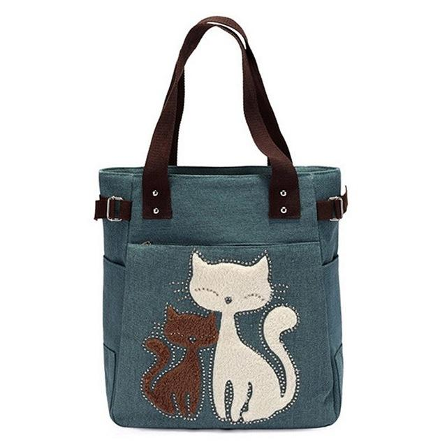 New Causal Lady Handbags Female Shoulder Tote Bags Fashion Women Canvas Handbag Cute Cat Appliques Travel Shoulder Bags F-41-ivroe