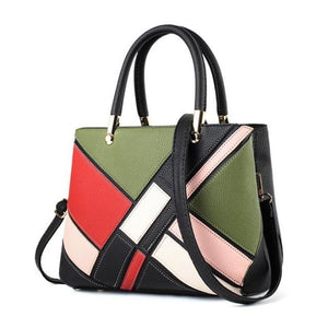 Luxury Designer Women Handbag Fashion Patchwork Hit Color Female Messenger Bag Soft Leather Women Crossbody Shoulder Bag L4-3326-ivroe