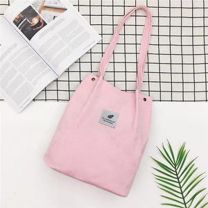Vintage Corduroy Bag Women Printing Handbag Casual Shoulder Bags for Women 2018 Foldable Reusable Shopping Bags Lady Big Tote-ivroe