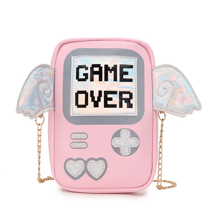 Fun cute fashion personality letter game shape laser wings mini clutch purse flap ladies chain shoulder bag Messenger bag-ivroe