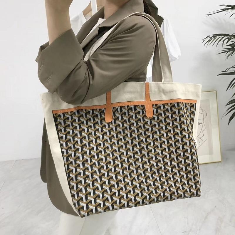 Women Canvas Tote Bag Handbag Geometric Print Portable Shoulder Shopping Bag Top-Handle Bags Handbags High Capacity Stroller Bag-ivroe