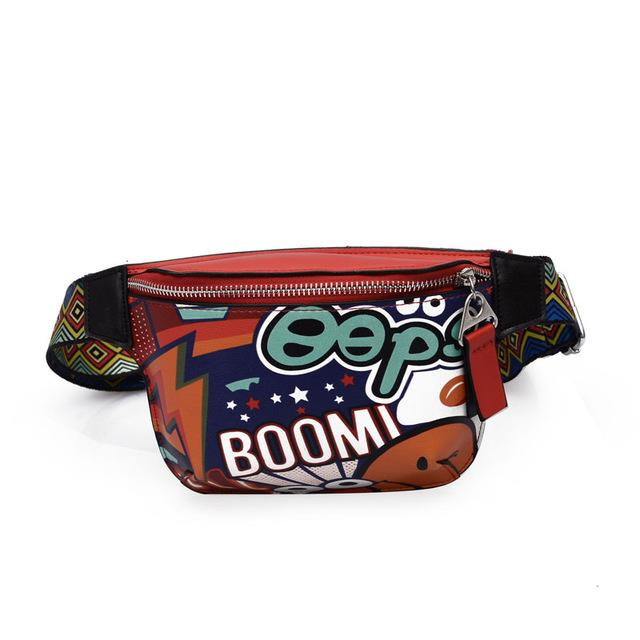Fanny Pack Waist Bag Women Personality Belt Bags pu Leather Graffiti Chest Handbag WIth Colorful Shoulder Belt 2018-ivroe