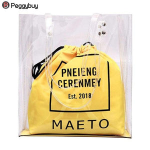Fashion Ladies Transparent Shopping Tote Big PVC Clear Travel Letters Printed Crossbody Bag for Girl Female Summer beach Handbag-ivroe