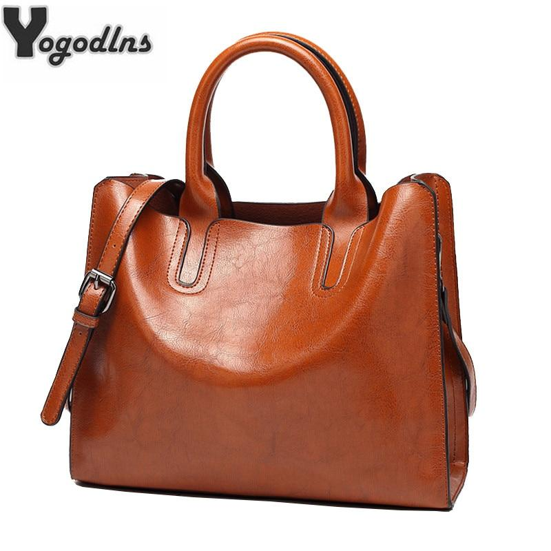 New Arrival Oil Leather Handbags for Women Large Capacity Casual Female Bags Trunk Tote Shoulder Bag Ladies Big Crossbody Bags-ivroe