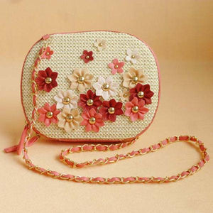 REREKAXI Summer Fashion Fresh Flower Straw Bag Bohemian Women's Shoulder Bag Weave Women Messenger Bags Lady's Chain Beach Bag-ivroe