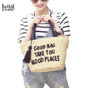BRIGGS Tassel Beach Bag Fashion Casual Tote Handmade Straw Bag Female Messenger Bag Ladies Shoulder Bags Women Handbag-ivroe
