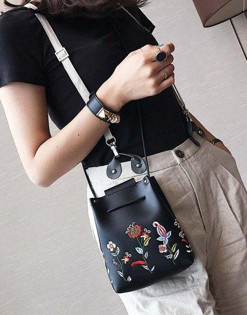 Girls Women Retro Female Simple Floral Bag Messenger Shoulder Bag Embroidery Handbag Mini Small Bucket Package Drop Ship #T-ivroe