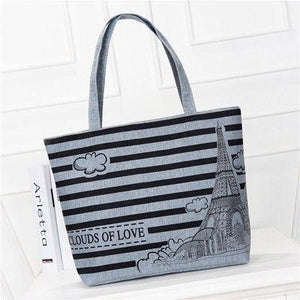 Hot Canvas Stripe Womans Shoulder Bag Casual Shopping Handbags For Girl Simple Beach Bags Female Casual-ivroe