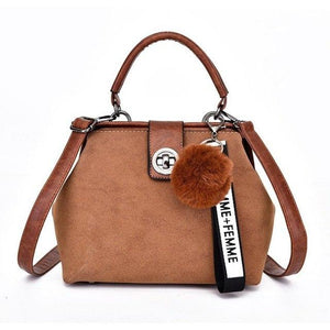 PU Leather Women Messenger Bag Solid Color Small Flap Shoulder Bag Hairball Decoration Girls Vintage Crossbody Clutches Purses-ivroe