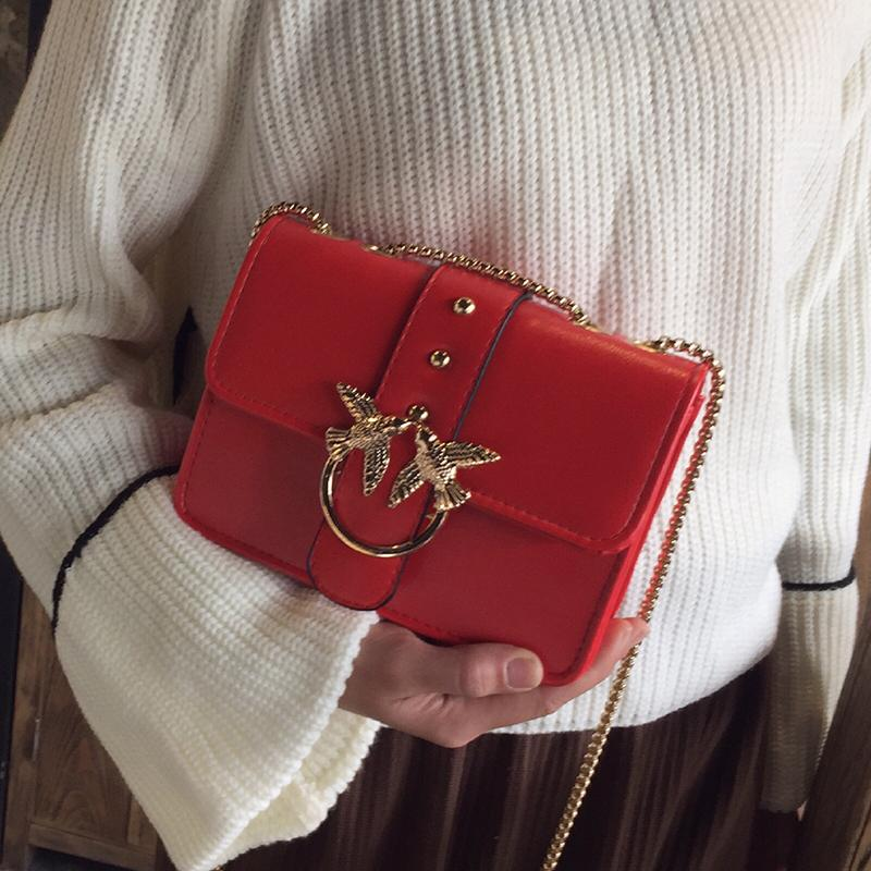 Luxury Brand Famous Design Flap Women Chain Shoulder Bag Swallow Lock Messenger Crossbody Bags Handbag and Purse Red Black Totes-ivroe