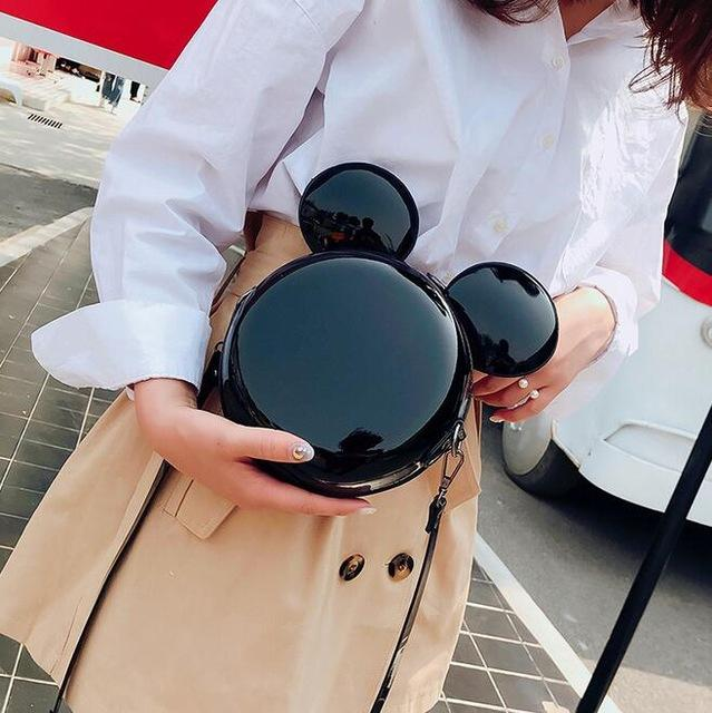 Cartoon Round Bag 2018 Fashion New Handbag High quality PU Leather Shiny Mini Cute Large Ear Round Bag Shoulder Messenger Bags-ivroe